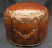 Round Tooled Western Brown Ottoman