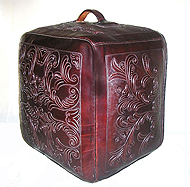 Western Floral Leather Square Ottoman